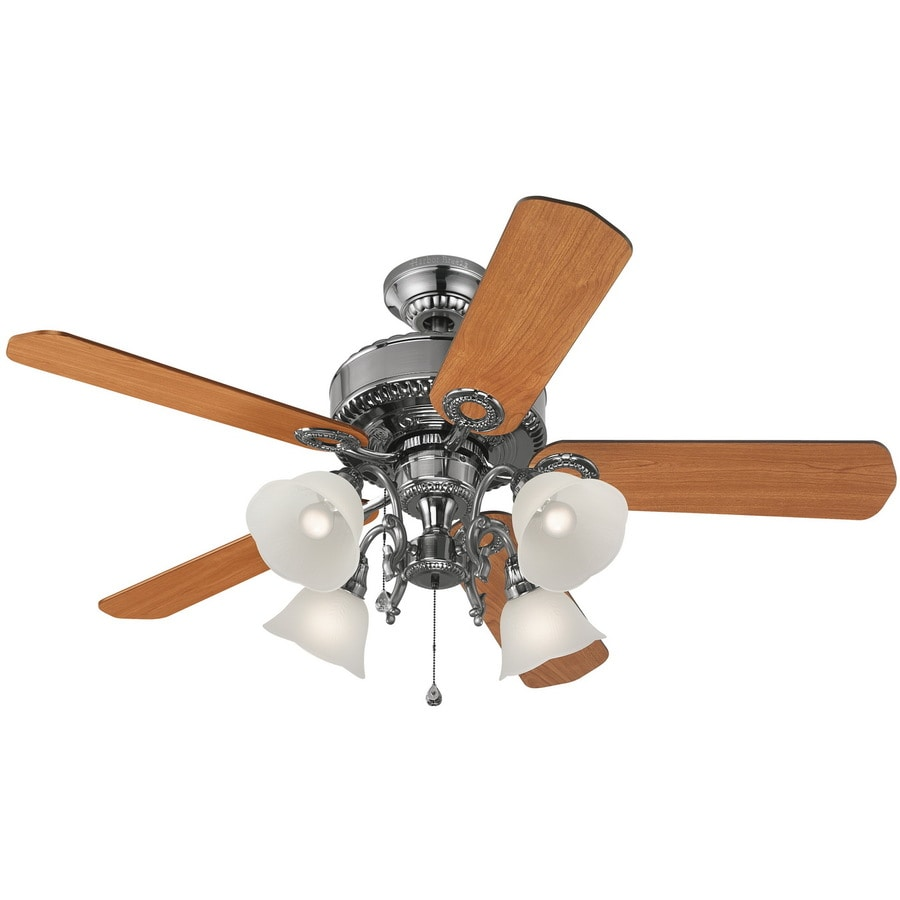 Harbor Breeze Edenton 52-in Polished Pewter Downrod or Close Mount Indoor Ceiling Fan with Light Kit