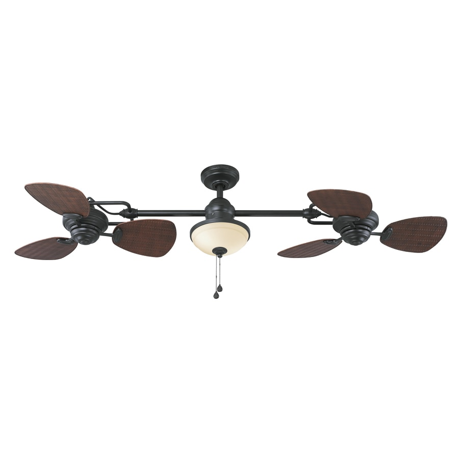 Harbor Breeze Twin Breeze II 74-in Oil-Rubbed Bronze Downrod Mount Indoor/Outdoor Ceiling Fan with Light Kit (6-Blade)