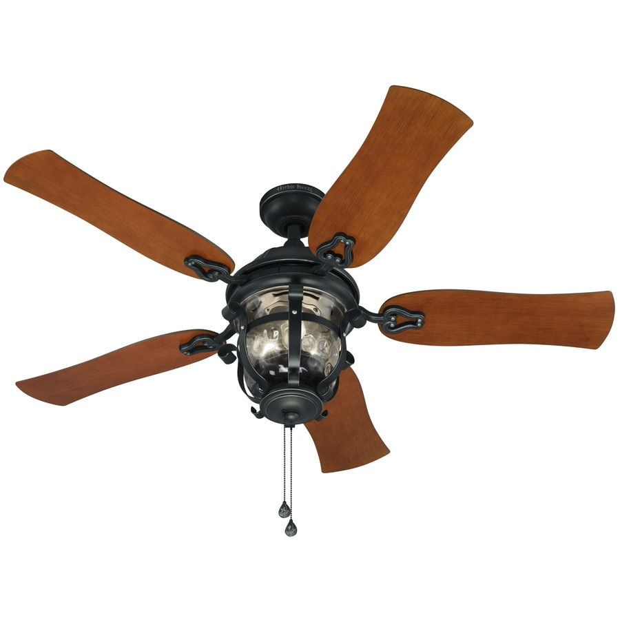 Harbor Breeze Lake Placido 52-in Black Iron Downrod or Close Mount Indoor/Outdoor Ceiling Fan with Light Kit