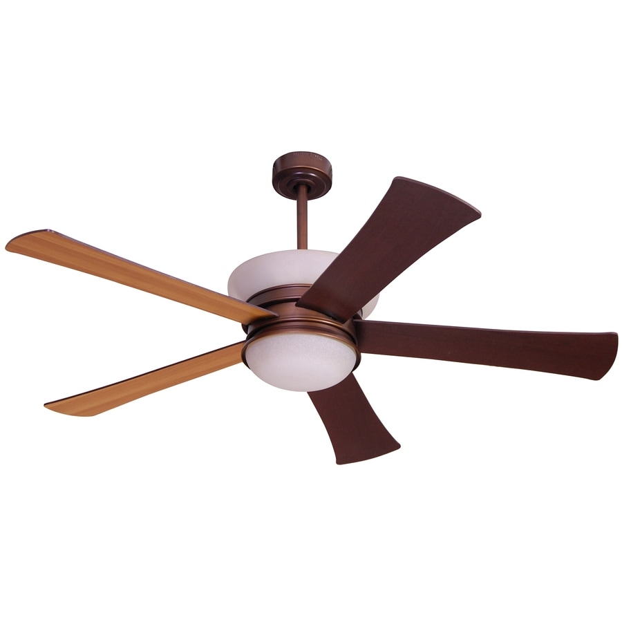 allen + roth Macbay 58-in Light Oil-Rubbed Bronze Downrod Mount Indoor Ceiling Fan with Light Kit and Remote