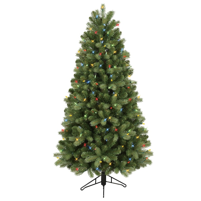 GE 5-ft Pre-Lit Colorado Spruce Slim Artificial Christmas Tree with 200 Multi-Function Color ...