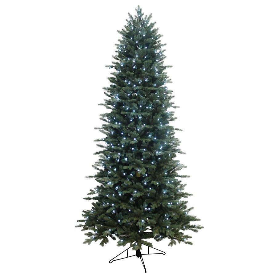 GE 7.5-ft Pre-Lit Aspen Fir Slim Artificial Christmas Tree with Color Changing LED Lights