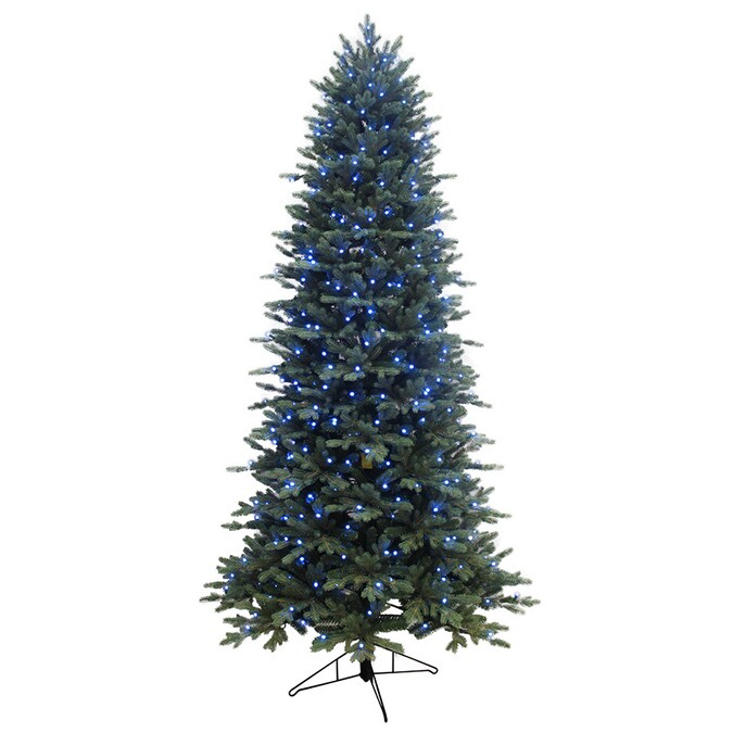 GE 7.5-ft Pre-Lit Aspen Fir Slim Artificial Christmas Tree with 400 Multi-Function Color ...