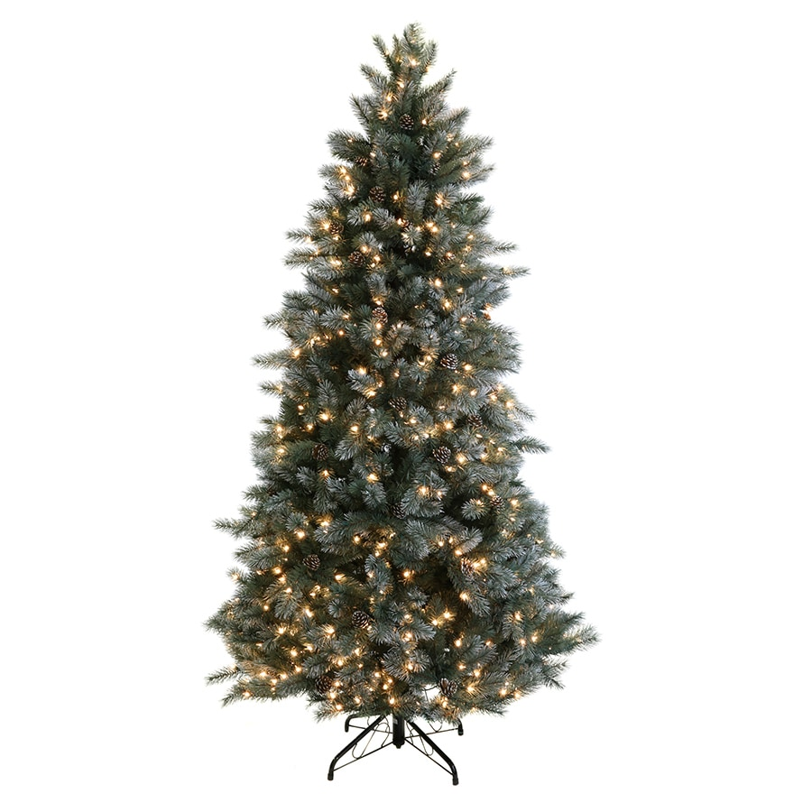 GE 7.5-ft Pre-Lit Scotch Pine Artificial Christmas Tree with White Incandescent Lights