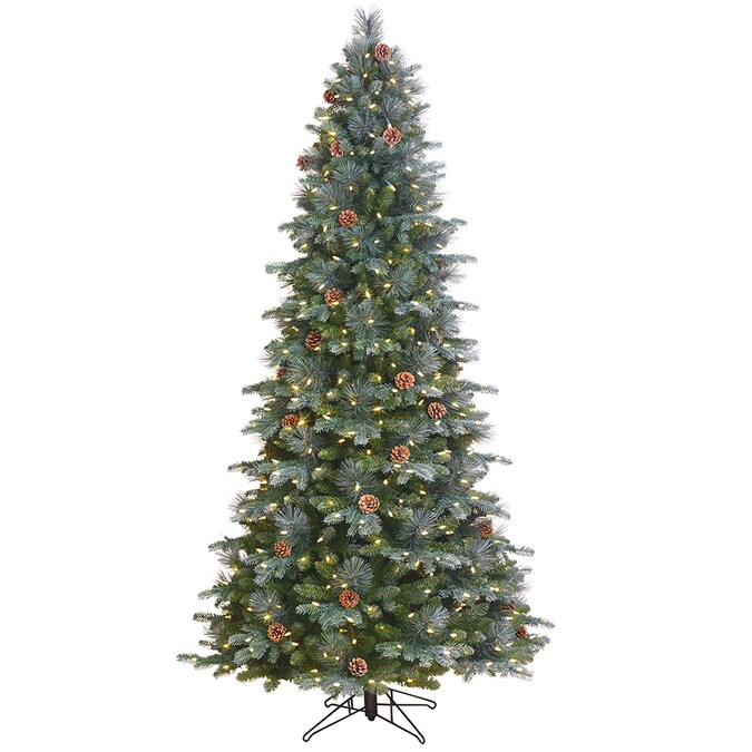 GE 7.5-ft Aspen Fir Pre-Lit Traditional Slim Flocked Artificial Christmas Tree with 500 Multi ...