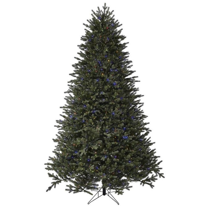 GE 7.5-ft Aspen Fir Pre-Lit Traditional Artificial Christmas Tree with 1000 Multi-Function Color ...