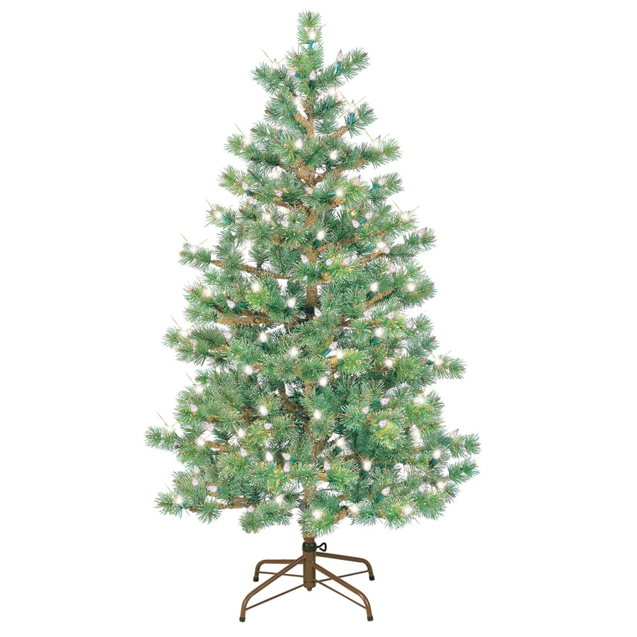 GE 5-ft Pre-Lit Pine Artificial Christmas Tree with White Lights