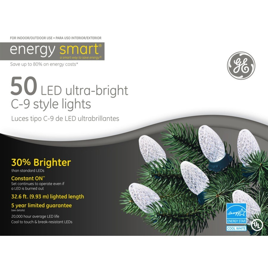 GE 50-Count LED C9 White Christmas String Lights ENERGY STAR