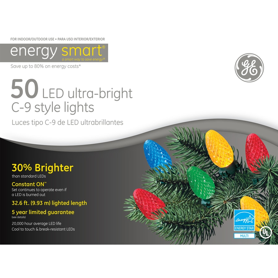 Shop GE 50-Count LED C9 Multicolor Christmas String Lights ENERGY STAR at Lowes.com