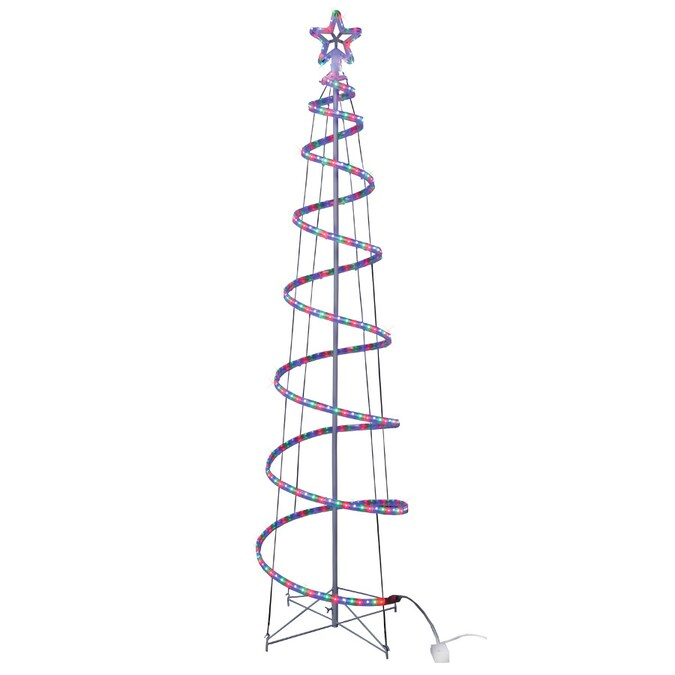 GE 84-in Spiral Tree with Multicolor LED Lights in the