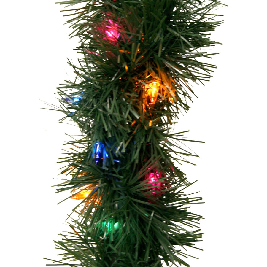GE 3.5-in x 18-ft Pre-Lit Indoor/Outdoor Pine Artificial Christmas Garland with Multicolor Incandescent Lights