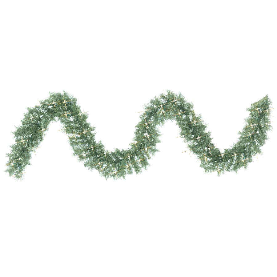 GE 8-in x 9-ft Pre-Lit Indoor/Outdoor Pine Artificial Christmas Garland with White Incandescent Lights