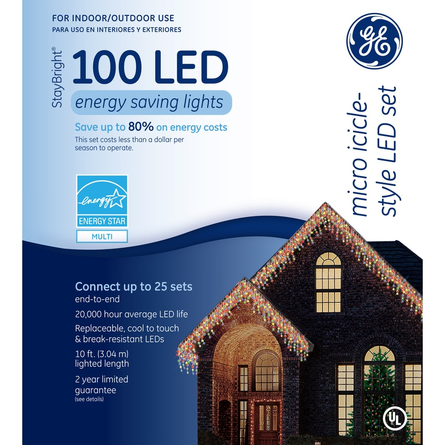 GE 100-Count LED Dome Multicolor Christmas Icicle String Lights ENERGY STAR