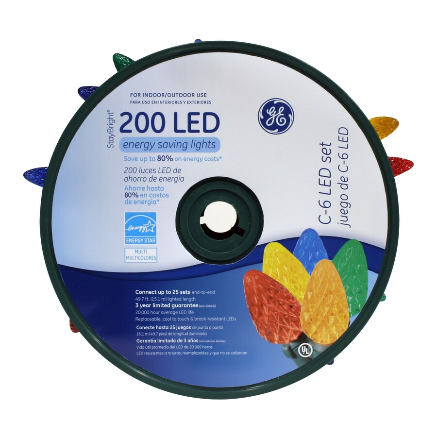 GE 200-Count LED C6 Multicolor Christmas String Lights ENERGY STAR