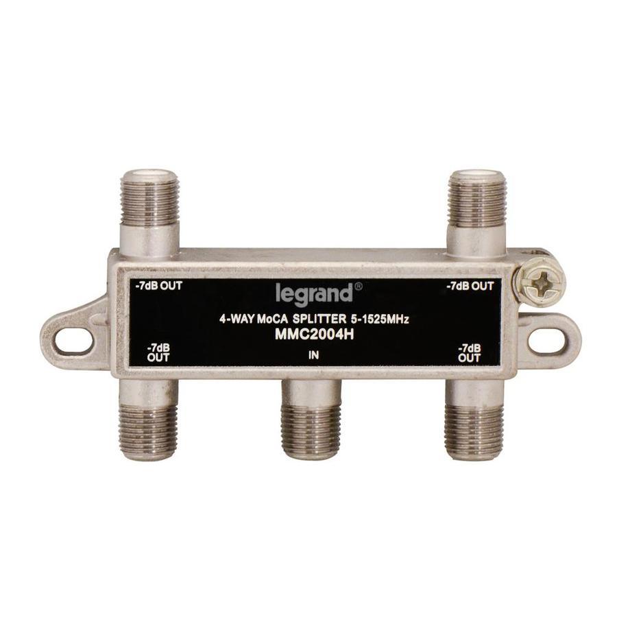 On-Q/Legrand Zinc 4-Way Coax Video Cable Splitter