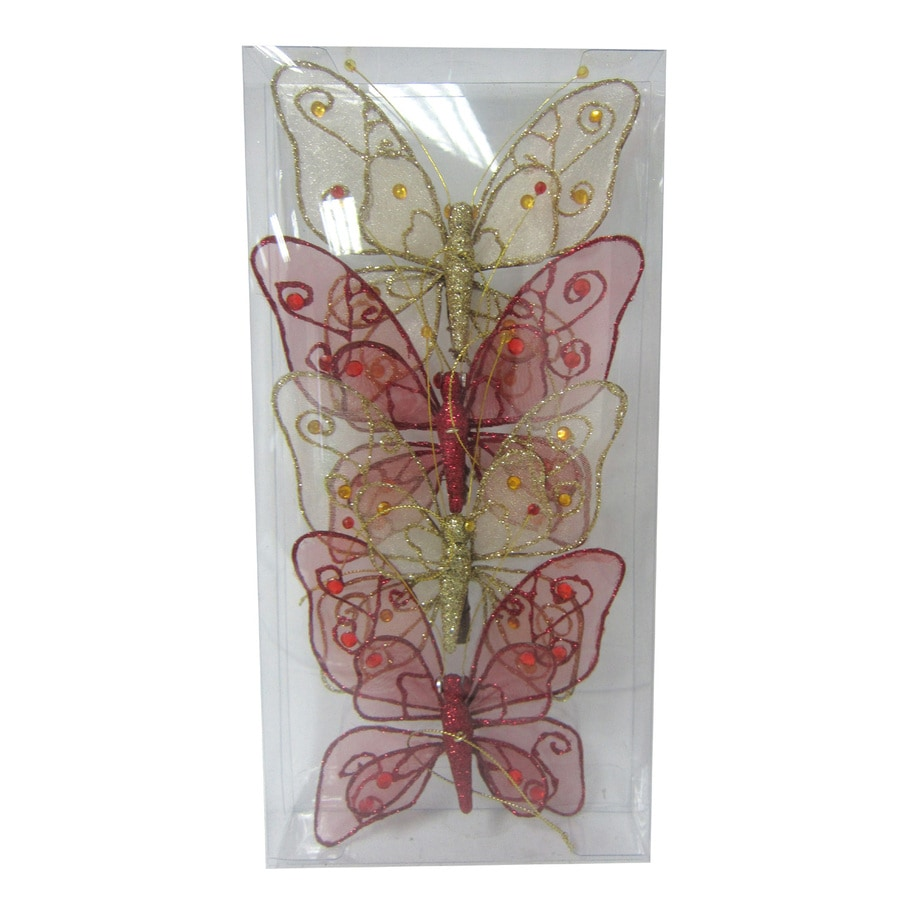 Holiday Living 4-Pack Red and Gold Shatterproof Butterfly Ornaments