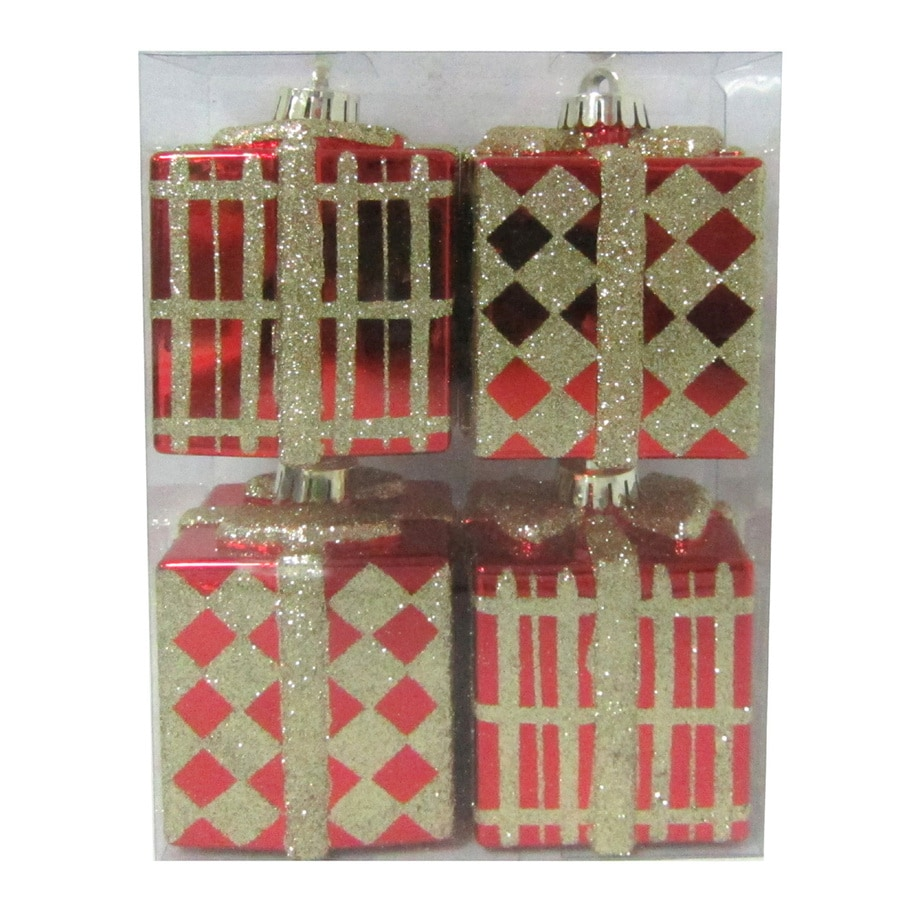 Holiday Living 4-Pack Glitter Gift Box Shatterproof Ornaments