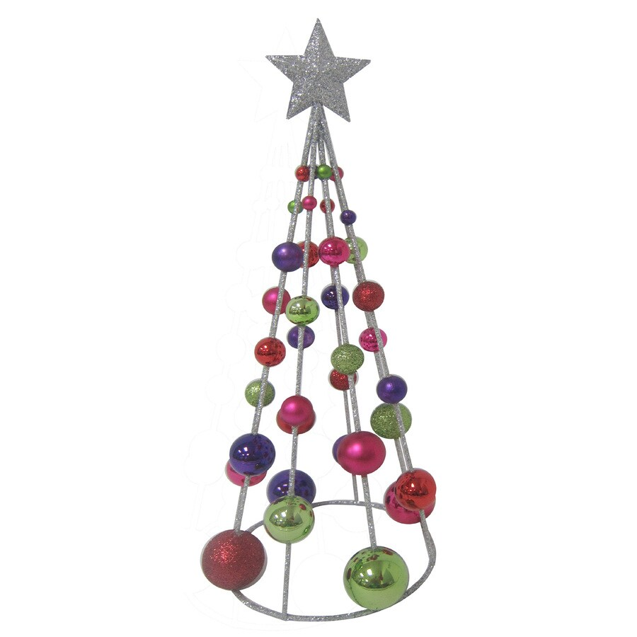 Holiday Living Plastic Tabletop 15-in Multicolor Ball Tree Indoor Christmas Decoration