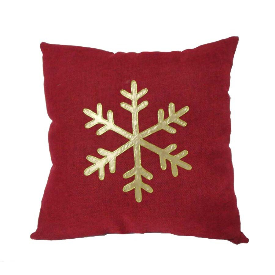 allen + roth Red Snowflake Pillow