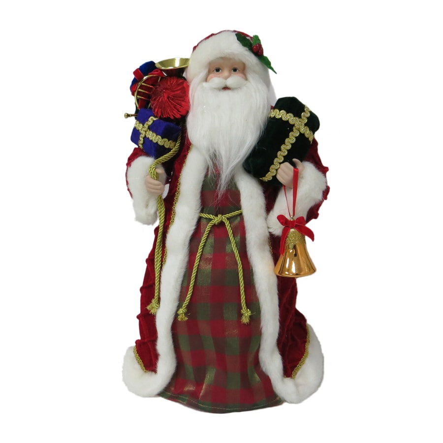 Holiday Living 18-in Red, Green, White Fabric Santa Christmas Tree Topper