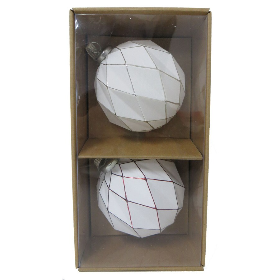 allen + roth 2-Pack White, Red, Silver Ball Ornament Set