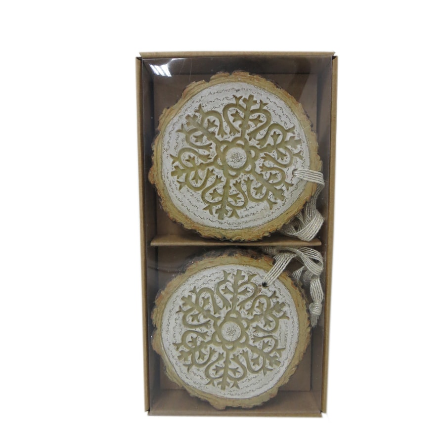 allen + roth 4-Pack White, Brown Snowflake Ornament Set