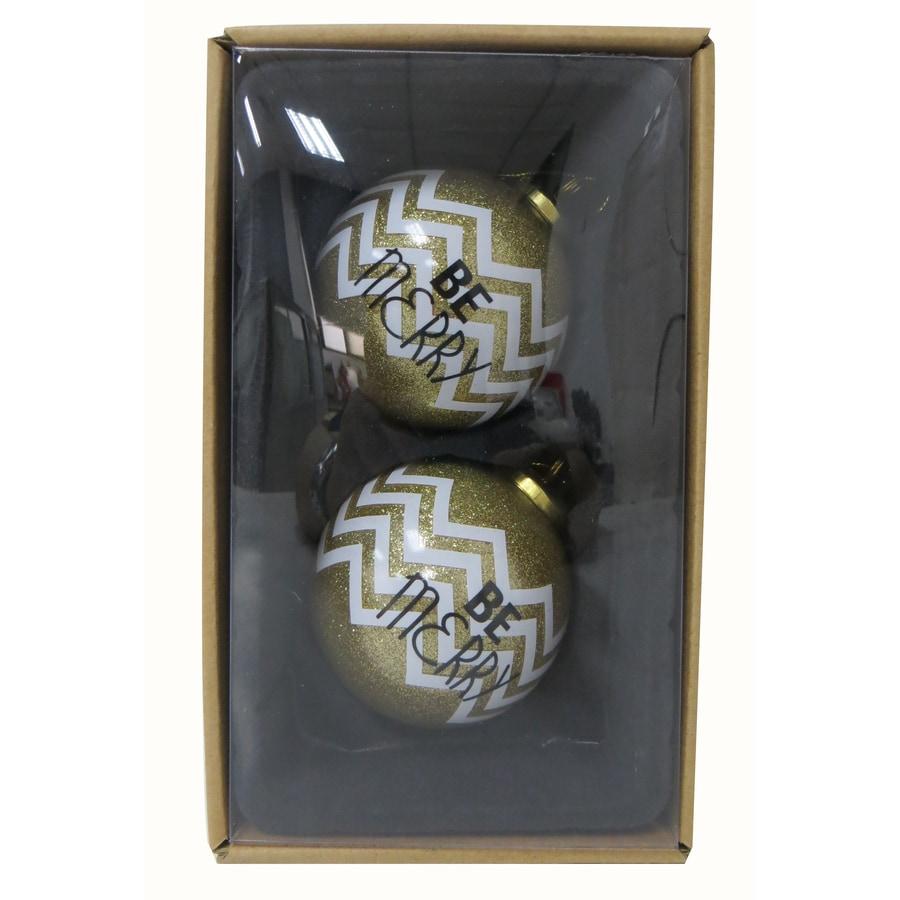 allen + roth 2-Pack White, Gold, Black Ball Ornament Set