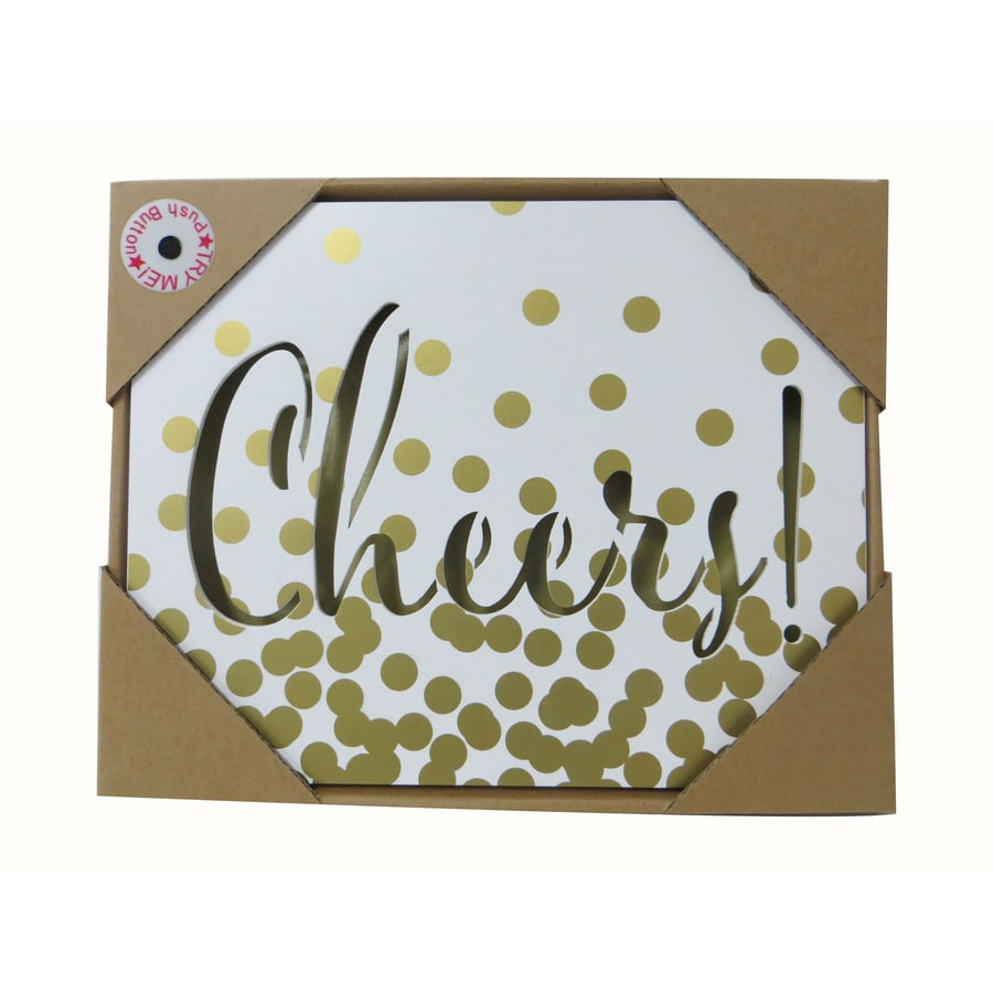 allen + roth Pre-Lit Cheers Wood Wall-Mounted Door Hanger with Constant White LED Lights