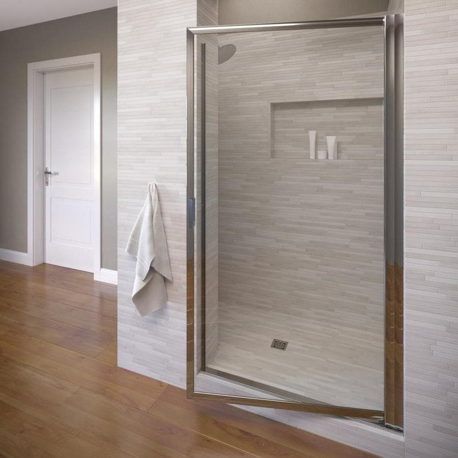 Basco Deluxe 33.125-in to 34.875-in Silver Pivot Shower Door