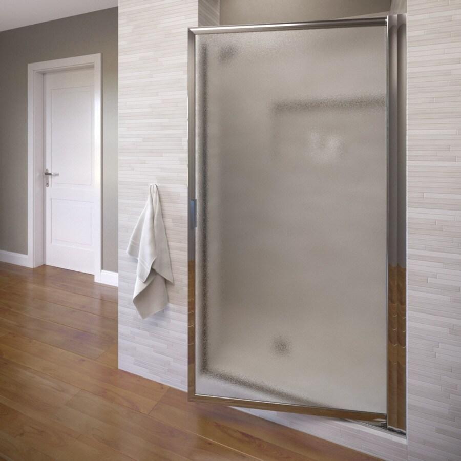 Basco Deluxe 26.25-in to 28-in Silver Pivot Shower Door