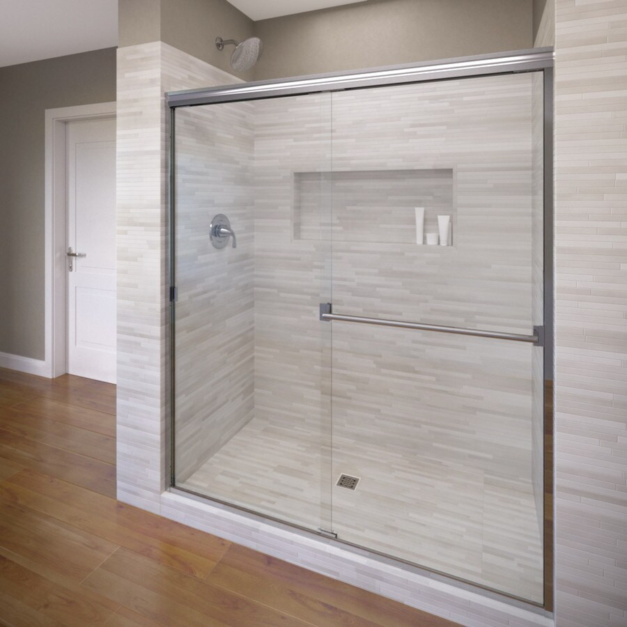 Basco Classic 52-in to 56-in W x 70-in H Silver Sliding Shower Door