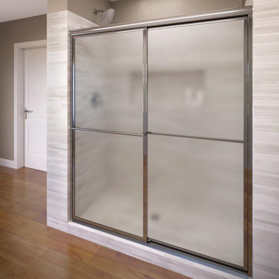 Basco Deluxe 49-in to 51.375-in W x 68-in H Silver Sliding Shower Door