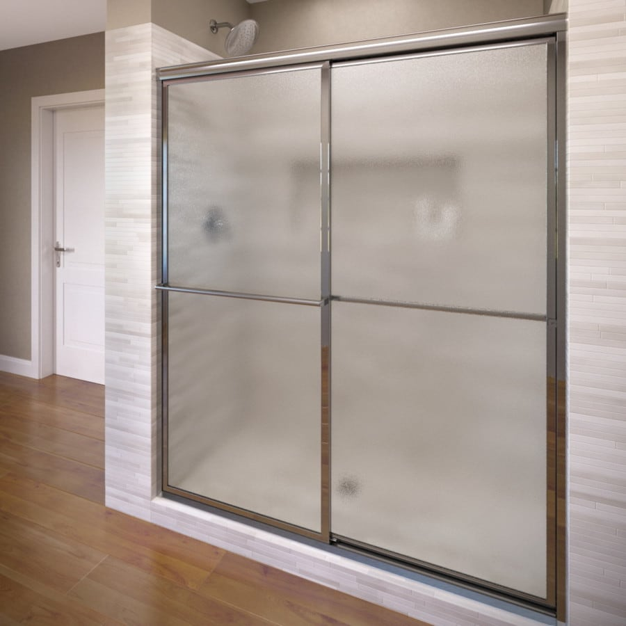 Basco Deluxe 54-in to 56-in W x 68-in H Silver Sliding Shower Door