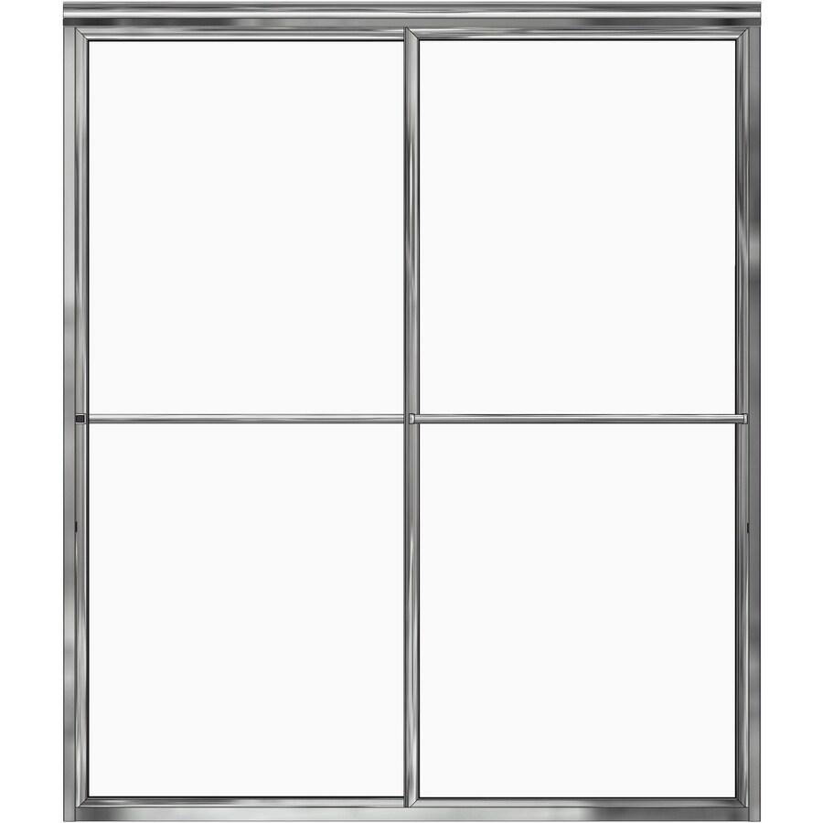 Basco 56-in to 59-in W x 71.5-in H Silver Sliding Shower Door