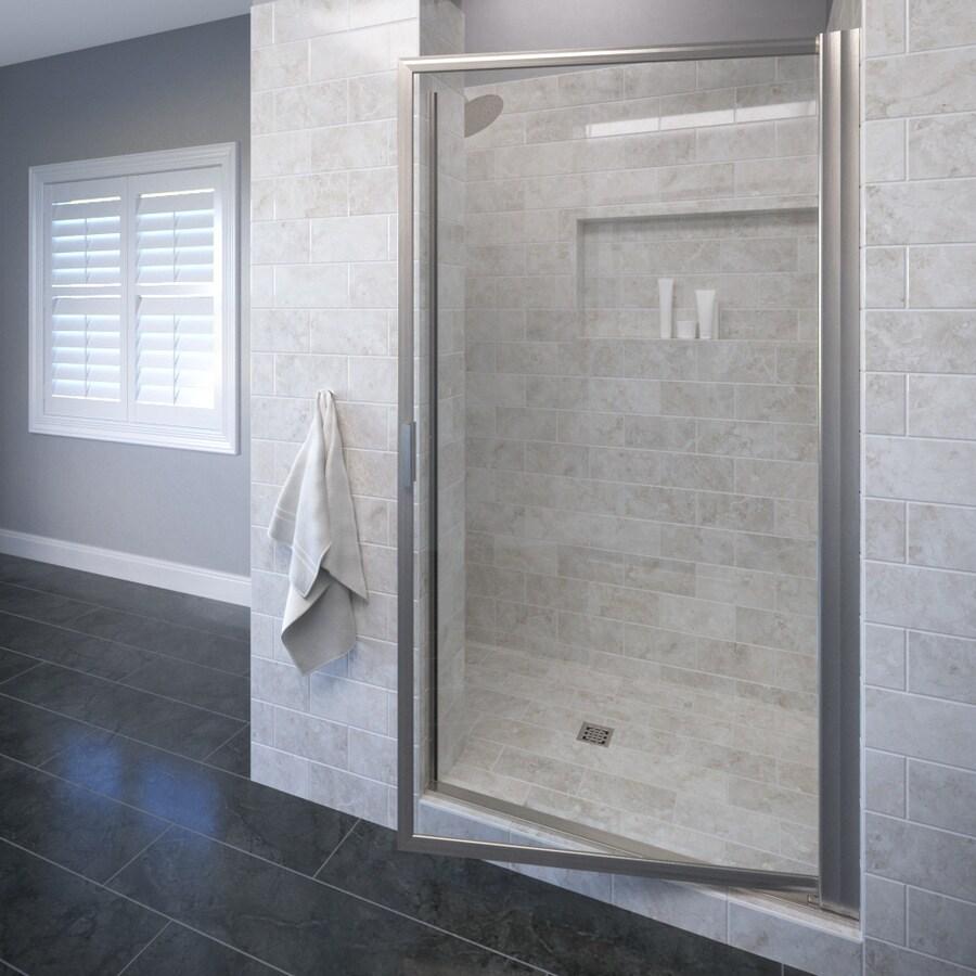 Basco Deluxe 29.625-in to 31.375-in Brushed Nickel Pivot Shower Door