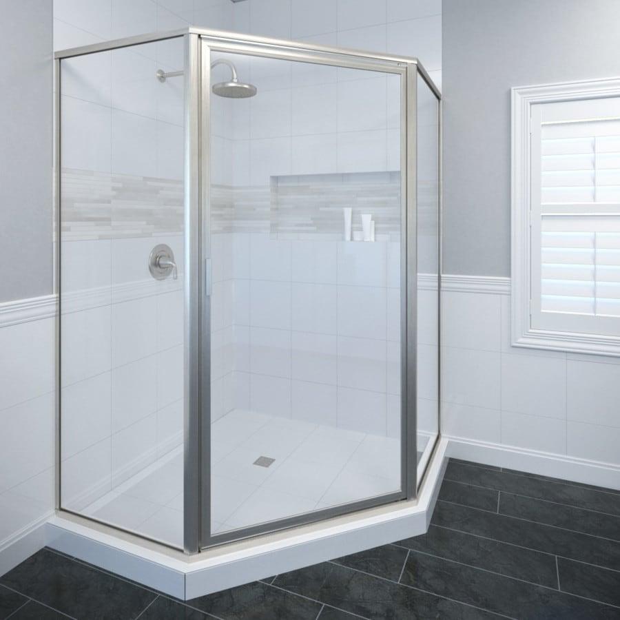 Basco Deluxe Thinline 48.5-in W x 68-5/8-in H Brushed Nickel Neo-Angle Shower Door