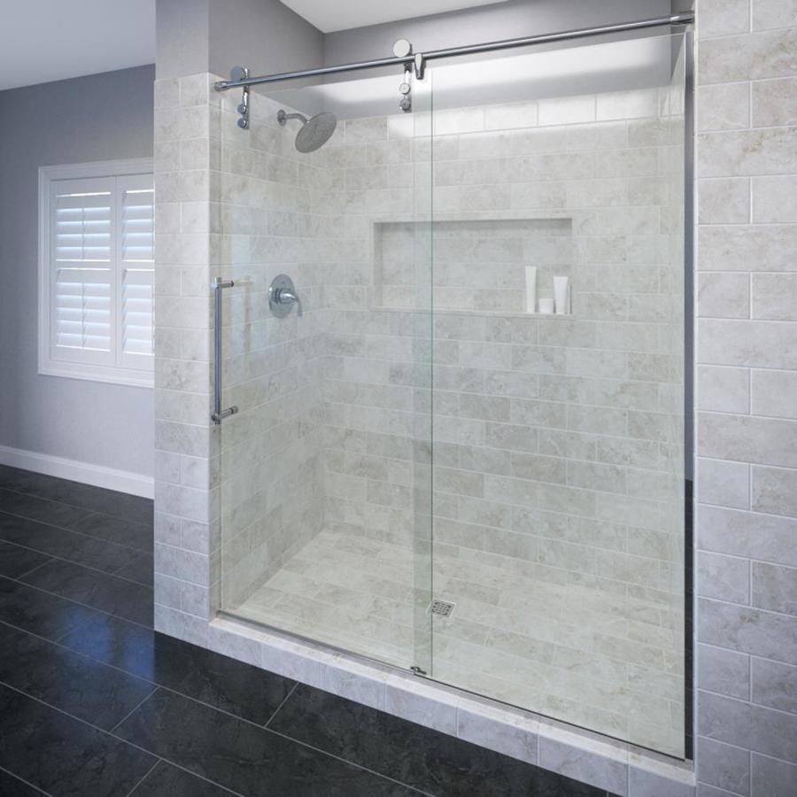 Basco RODA Rolaire 45-in to 47-in W x 76-in H Chrome Sliding Shower Door