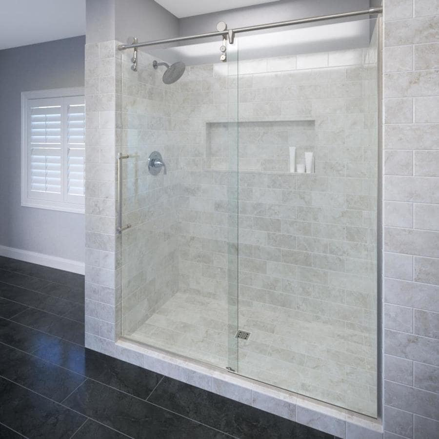 Basco RODA Rolaire 57-in to 59-in W x 76-in H Brushed Stainless Steel Sliding Shower Door