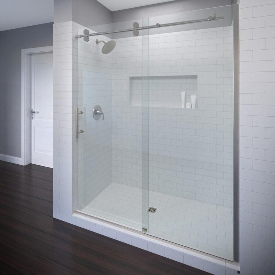 Basco RODA Vinesse Lux 45-in to 47-in W x 76-in H Brushed Nickel Sliding Shower Door