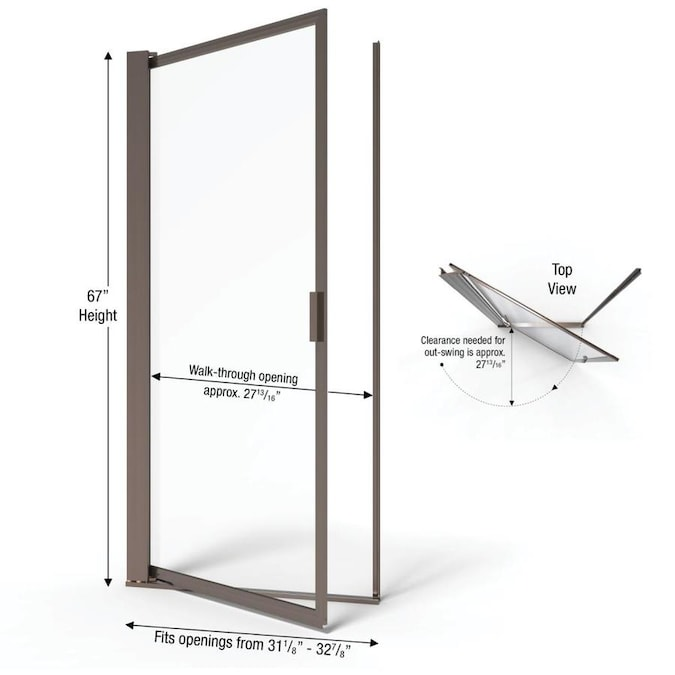 Width Pivot Shower Door Oil Rubbed Bronze Finish Clear Glass Basco Sopora 31.125-32.875 in