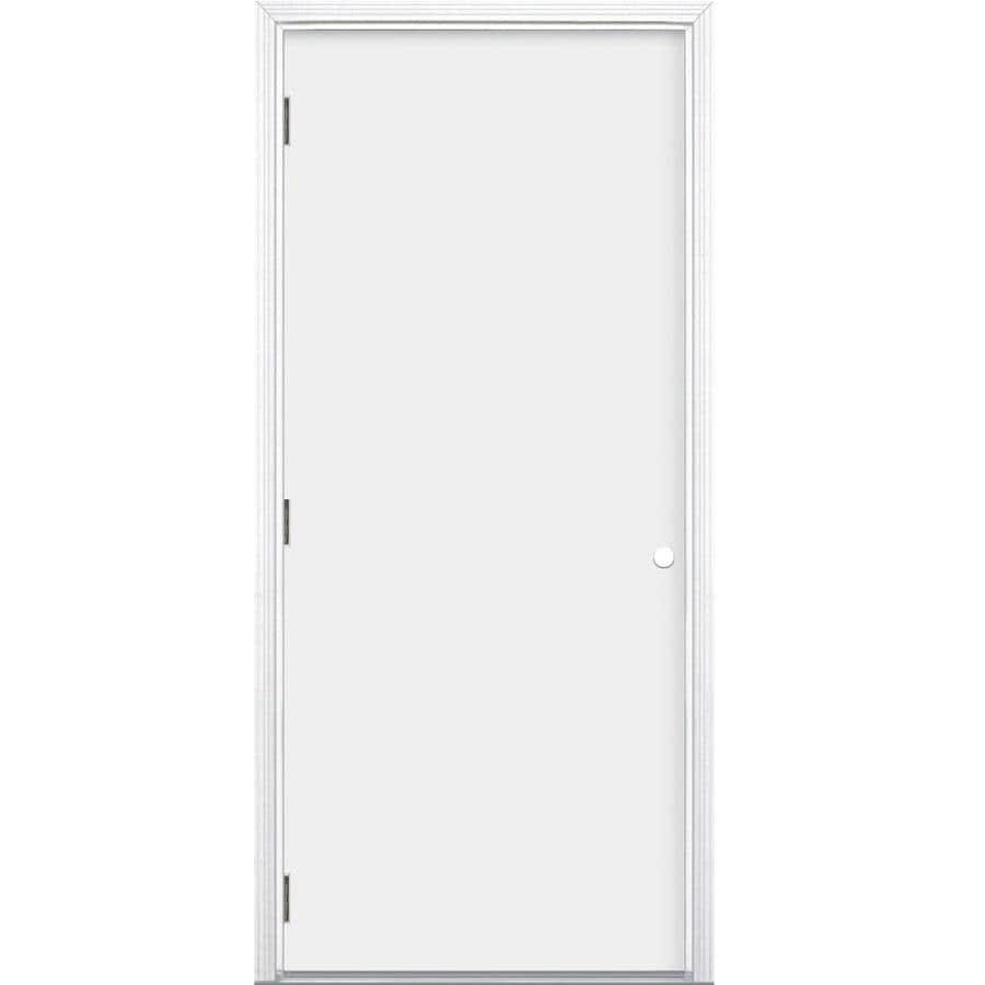 ReliaBilt Flush Insulating Core Right-Hand Outswing Steel Primed Prehung Entry Door (Common: 36-in x 80-in; Actual: 37.5-in x 80.375-in)