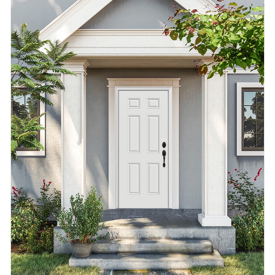 ProSteel 6-Panel Insulating Core Left-Hand Inswing Steel Primed Prehung Entry Door (Common: 36-in x 80-in; Actual: 37.5-in x 81.75-in)