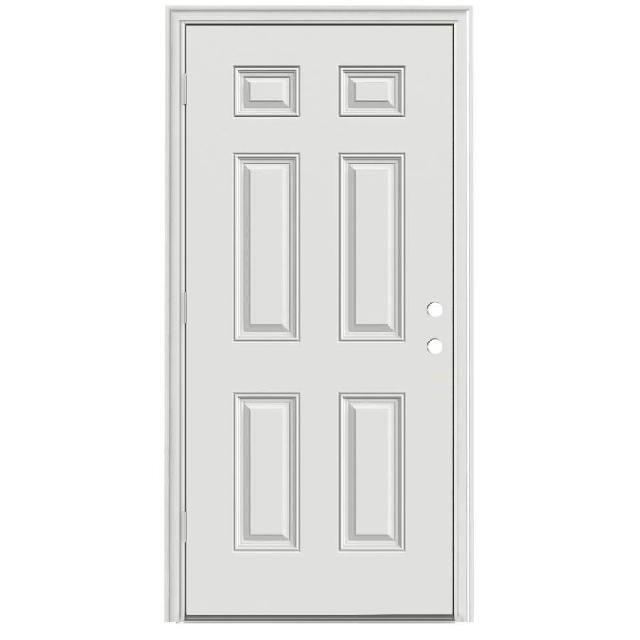 ReliaBilt 6-Panel Insulating Core Right-Hand Outswing Steel Primed Prehung Entry Door (Common: 32-in x 80-in; Actual: 33.5-in x 80.375-in)
