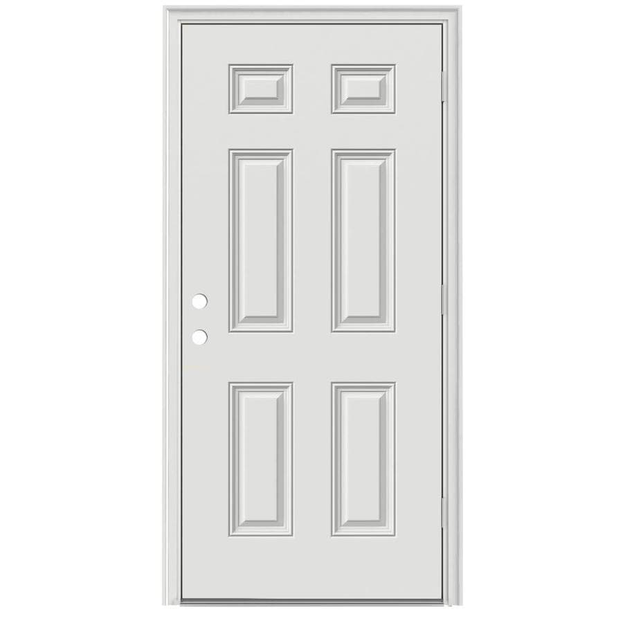 ReliaBilt 6-Panel Insulating Core Left-Hand Outswing Steel Primed Prehung Entry Door (Common: 32-in x 80-in; Actual: 33.5-in x 80.375-in)