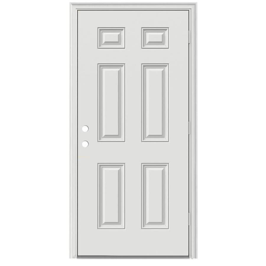 ReliaBilt 6-Panel Insulating Core Left-Hand Outswing Steel Primed Prehung Entry Door (Common: 32-in x 80-in; Actual: 33.5-in x 80.375-in)
