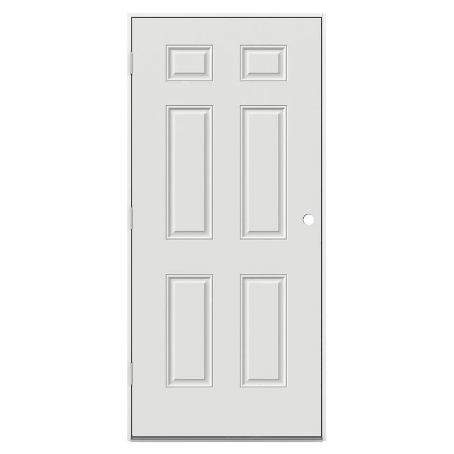 ProSteel 6-Panel Insulating Core Right-Hand Outswing Steel Primed Prehung Entry Door (Common: 32-in x 80-in; Actual: 33.5-in x 80.375-in)