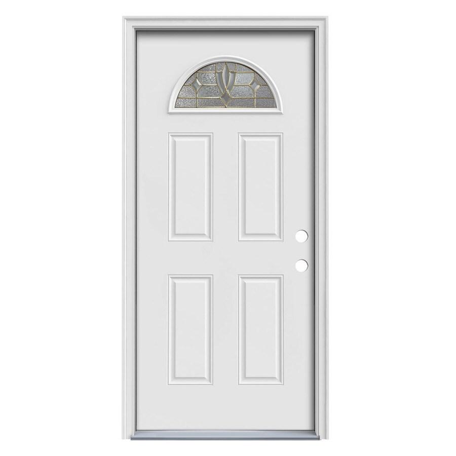 ReliaBilt Laurel 4-Panel Insulating Core Fan Lite Left-Hand Inswing White Steel Primed Prehung Entry Door (Common: 36-in x 80-in; Actual: 37.5-in x 81.7-in)