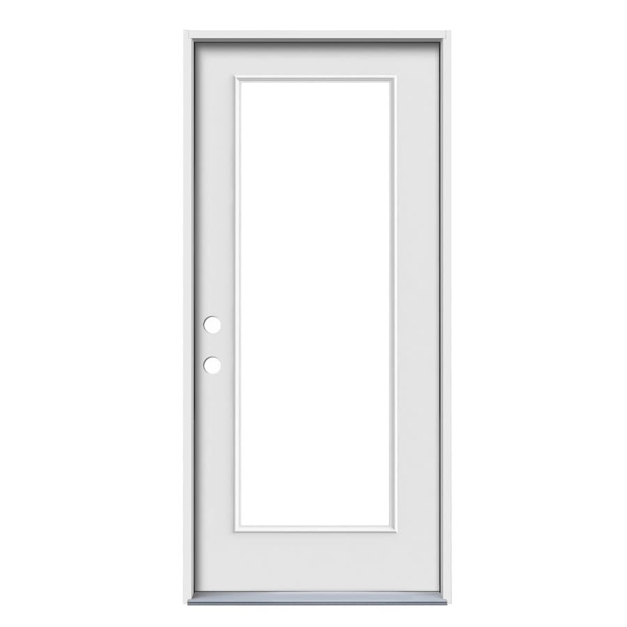 ReliaBilt Flush Insulating Core Full Lite Right-Hand Inswing Steel Primed Prehung Entry Door (Common: 32-in x 80-in; Actual: 33.5-in x 81.5-in)