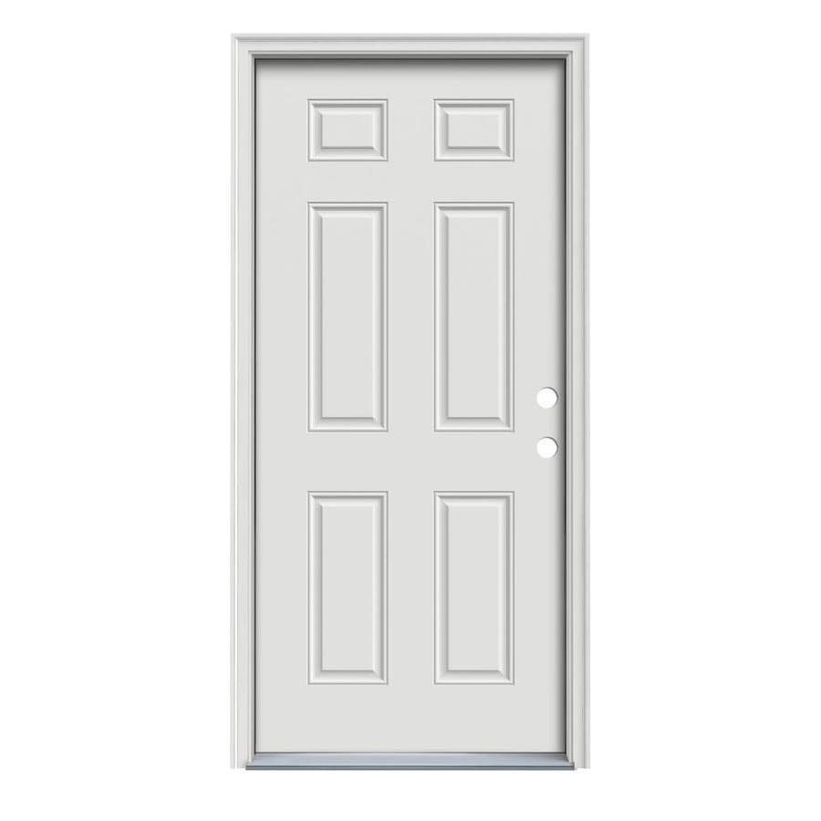 ReliaBilt 6-Panel Insulating Core Left-Hand Inswing Steel Primed Prehung Entry Door (Common: 34-in x 80-in; Actual: 35.5-in x 81.75-in)