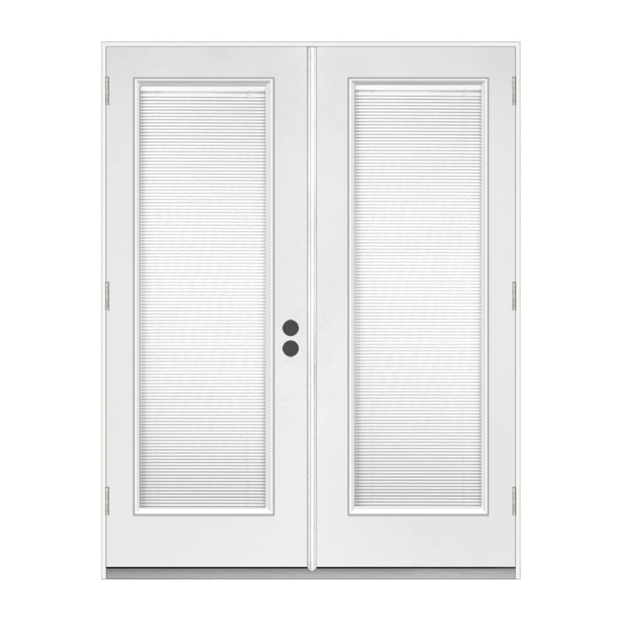 ReliaBilt 71-1/2-in Dual-Pane Blinds Between Glass Steel French Outswing Patio Door